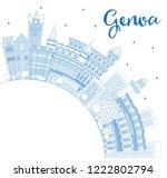 outline genoa italy city... | Shutterstock .eps vector #1222802794