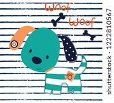 dog cartoon on striped... | Shutterstock .eps vector #1222810567