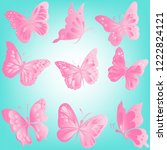 beautiful pink butterflies  set ... | Shutterstock .eps vector #1222824121
