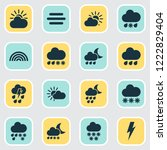 weather icons set with snow ... | Shutterstock .eps vector #1222829404