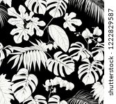 tropical plants and white... | Shutterstock .eps vector #1222829587