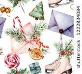watercolor christmas pattern... | Shutterstock . vector #1222834084