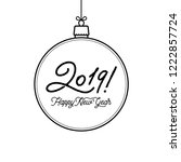 happy new year 2019 lettering... | Shutterstock .eps vector #1222857724