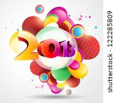 colorful vector happy new year... | Shutterstock .eps vector #122285809