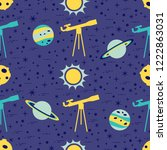 seamless pattern with telescope ... | Shutterstock .eps vector #1222863031