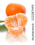 Two tangerine with a reflection. Isolated on a white background - stock photo