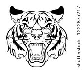 tiger logo. black white... | Shutterstock .eps vector #1222875217