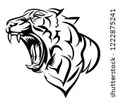 tiger logo. black white... | Shutterstock .eps vector #1222875241