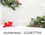 christmas gift box and fir tree ... | Shutterstock . vector #1222877764