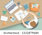 man sitting at the wooden table.... | Shutterstock .eps vector #1222879684