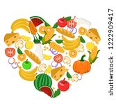heart lined with vegetables ... | Shutterstock .eps vector #1222909417