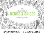 layout with culinary herbs and... | Shutterstock .eps vector #1222916851