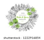 popular culinary herbs and... | Shutterstock .eps vector #1222916854