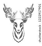 deer head isolated on white... | Shutterstock .eps vector #1222917901
