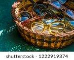 wicker basket of vintage 1950's ... | Shutterstock . vector #1222919374