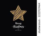 christmas gold star card... | Shutterstock .eps vector #1222919464