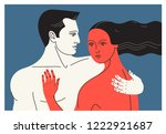 couple in love. two hugging... | Shutterstock .eps vector #1222921687