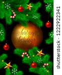 happy holidays card design. fir ... | Shutterstock . vector #1222922341