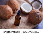 coconut oil with coconuts  ...   Shutterstock . vector #1222930867