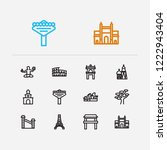 travel icons set  mumbai  rome  ...