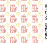 christmas hand drawn pattern...   Shutterstock .eps vector #1222958281