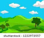 happy summer landscape with...   Shutterstock .eps vector #1222973557