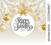 happy holidays card with fir... | Shutterstock .eps vector #1222984867