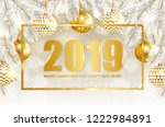 2019 merry christmas and happy... | Shutterstock .eps vector #1222984891