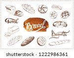 hand drawn bakery icons set... | Shutterstock . vector #1222986361
