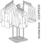rack with four arms for clothes | Shutterstock .eps vector #122299231