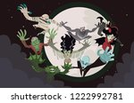 evil horror monsters creatures   Shutterstock .eps vector #1222992781