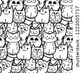 funny doodle cats and kittens... | Shutterstock .eps vector #1223005717