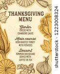 thanksgiving menu with autumn... | Shutterstock .eps vector #1223008324