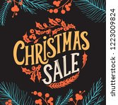 christmas sale background with... | Shutterstock .eps vector #1223009824