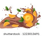 chocolate splash with orange.... | Shutterstock . vector #1223013691