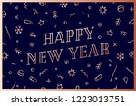 happy new year. greeting card...   Shutterstock .eps vector #1223013751