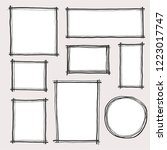 hand drawn set of simple frame... | Shutterstock .eps vector #1223017747