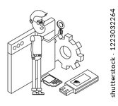 man and technology isometric in ... | Shutterstock .eps vector #1223032264