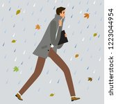 man running under the rain.... | Shutterstock .eps vector #1223044954