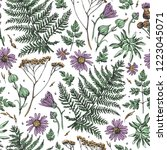seamless pattern with flowers ...   Shutterstock .eps vector #1223045071