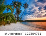 Stock photo tropical beach at beautiful sunset nature background 122304781