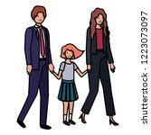 parents couple with daugether... | Shutterstock .eps vector #1223073097