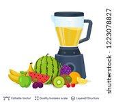 fruit juice squeezer or blender ... | Shutterstock .eps vector #1223078827