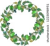 lush wreath green apples leaves ... | Shutterstock . vector #1223098951