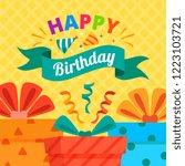 happy birthday postcard gift | Shutterstock .eps vector #1223103721