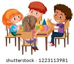 group of students learning... | Shutterstock .eps vector #1223113981