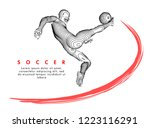 football concept. vector drawn... | Shutterstock .eps vector #1223116291