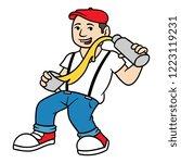 cartoon hipster bartender | Shutterstock .eps vector #1223119231