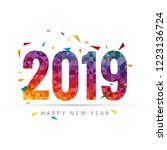 happy new year 2019 with...   Shutterstock . vector #1223136724