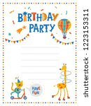 birthday party poster or card... | Shutterstock .eps vector #1223153311